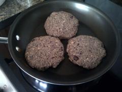Cook burgers in pan