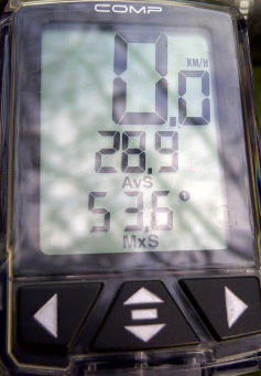 2nd Stop: avg 28.9kph@53.6km